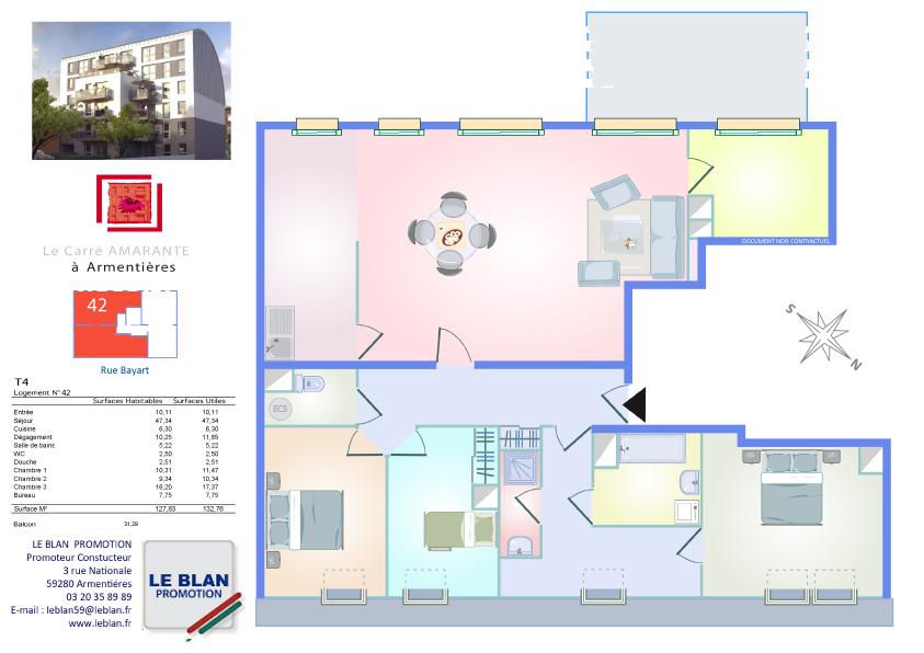 carr amarante appartement neuf nord le blan promotion. Black Bedroom Furniture Sets. Home Design Ideas