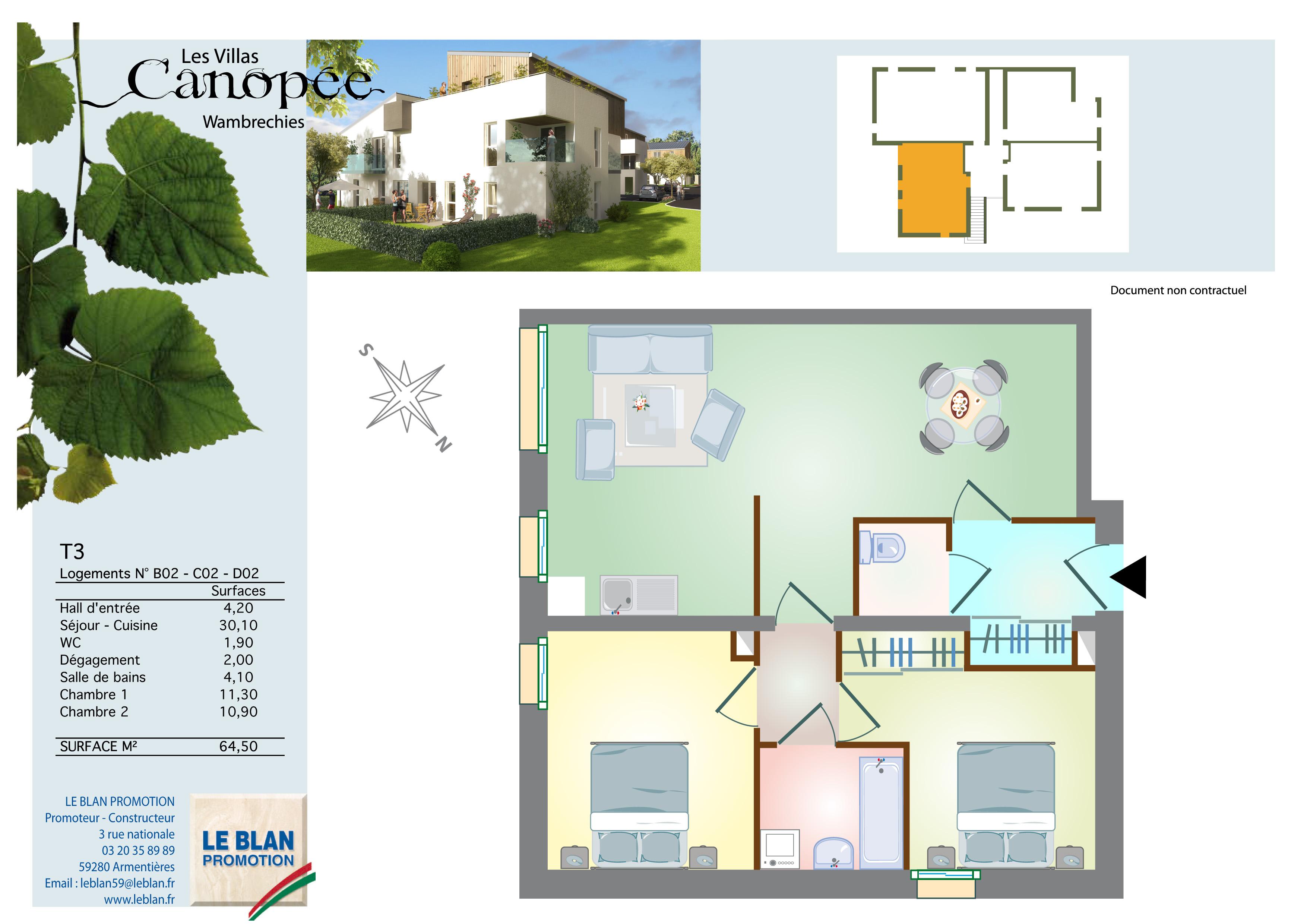les villas canop e appartement neuf nord le blan promotion. Black Bedroom Furniture Sets. Home Design Ideas